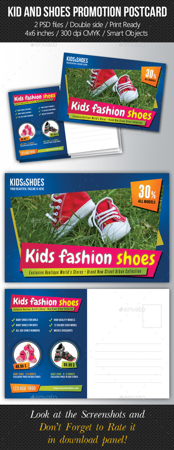 GraphicRiver Kid And Shoes Postcard Template 10172479