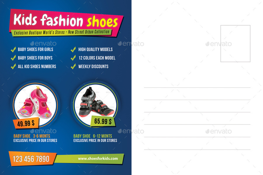 kid and shoes postcard template by rapidgraf graphicriver