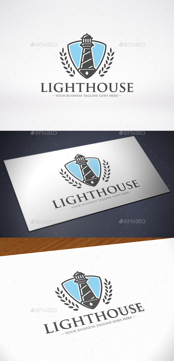 Lighthouse Shield Logo Template