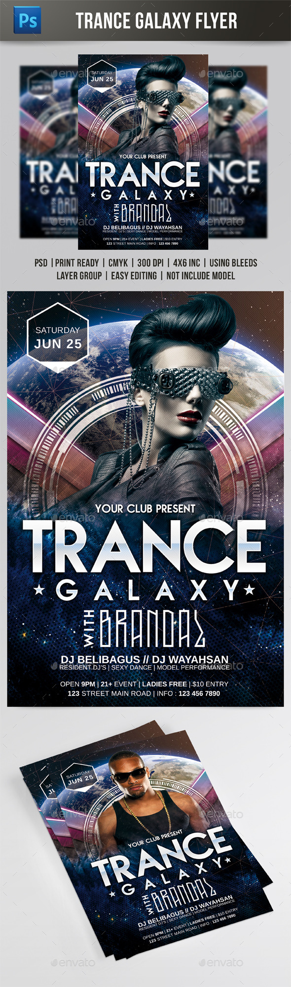 GraphicRiver Trance Galaxy Flyer 10173199