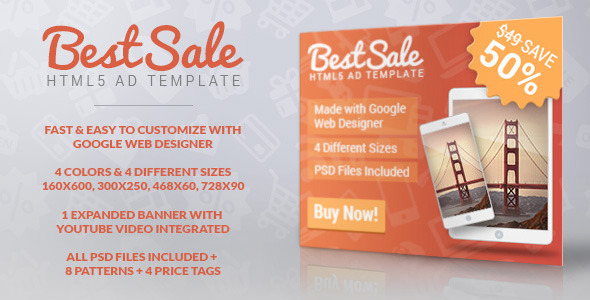 CodeCanyon BestSale HTML5 Promotional Banner Template 10173493