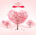 Pink heart-shaped sakura trees. Valentine's day - PhotoDune Item for Sale