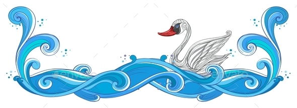 GraphicRiver Border with a Swan 10174880