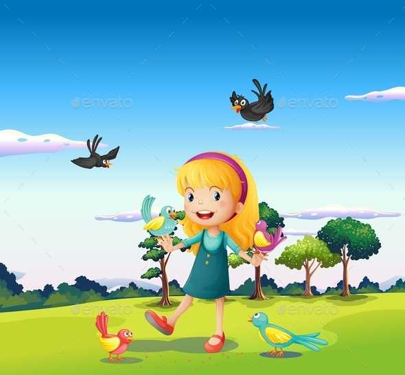 GraphicRiver Girl Surrounded by Birds on a Hill 10174962