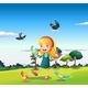 Girl Surrounded by Birds on a Hill - GraphicRiver Item for Sale