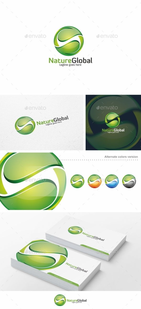 GraphicRiver Nature Global Leaf Logo Template 10175097