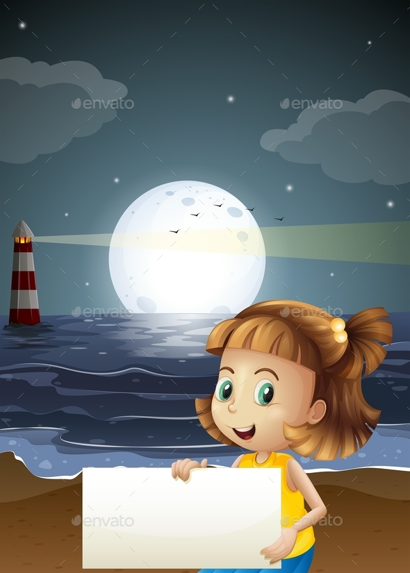 GraphicRiver Girl Holding an Empty Signboard at the Beach 10175316