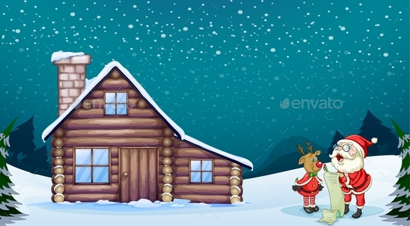 GraphicRiver Santa Claus and a Reindeer 10175335