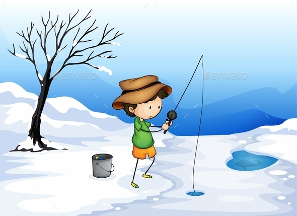 GraphicRiver Boy Ice Fishing 10175403