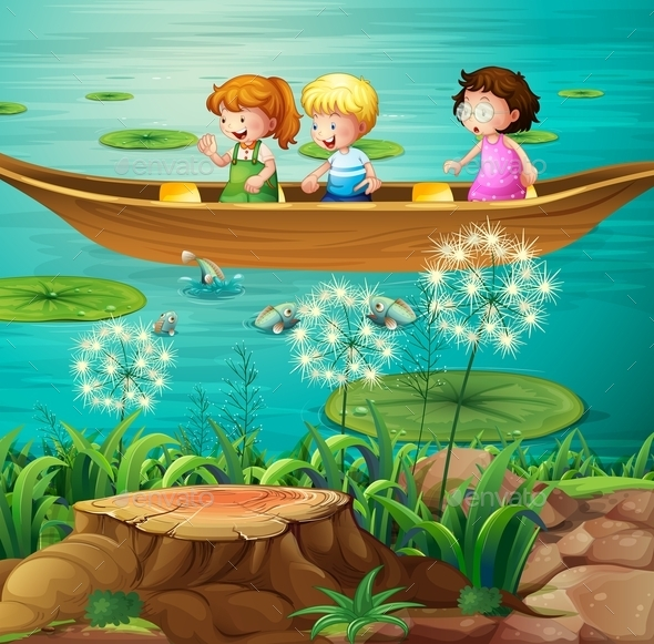 GraphicRiver Children Rowing Boat in Pond 10175470