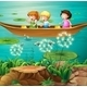 Children Rowing Boat in Pond - GraphicRiver Item for Sale