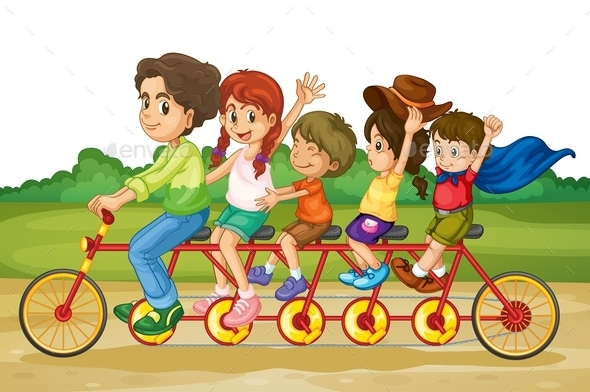 GraphicRiver Family on Tandem Bike 10175544