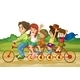 Family on Tandem Bike - GraphicRiver Item for Sale