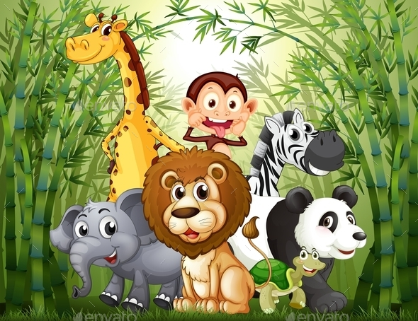 GraphicRiver Bamboo Forest with Many Animals 10175591