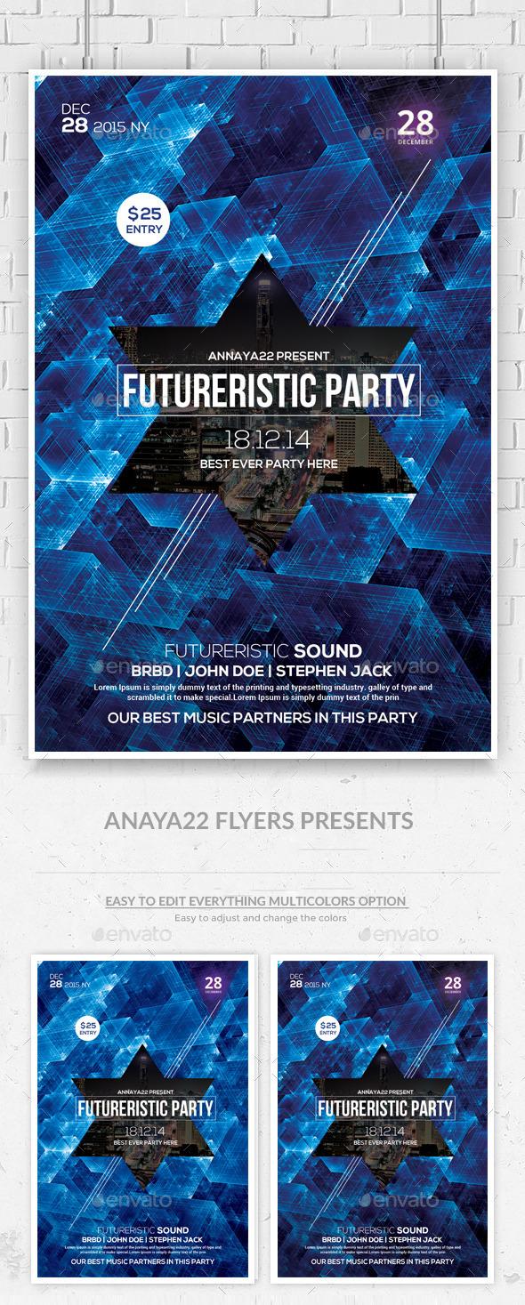 GraphicRiver Electro Futuristic Flyer Template PSD 10175811