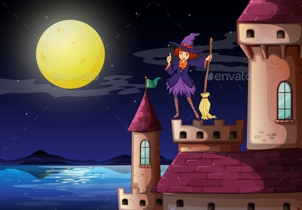 GraphicRiver Witch at the Castle with a Purple Dress 10175877