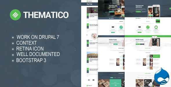 ThemeForest Thematico One Page Drupal Theme 10175879