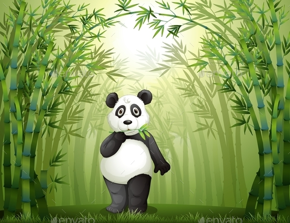 GraphicRiver Panda in the Bamboo Forest 10175967