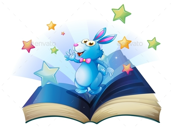 GraphicRiver Book with a Bunny Surrounded with Stars 10176474