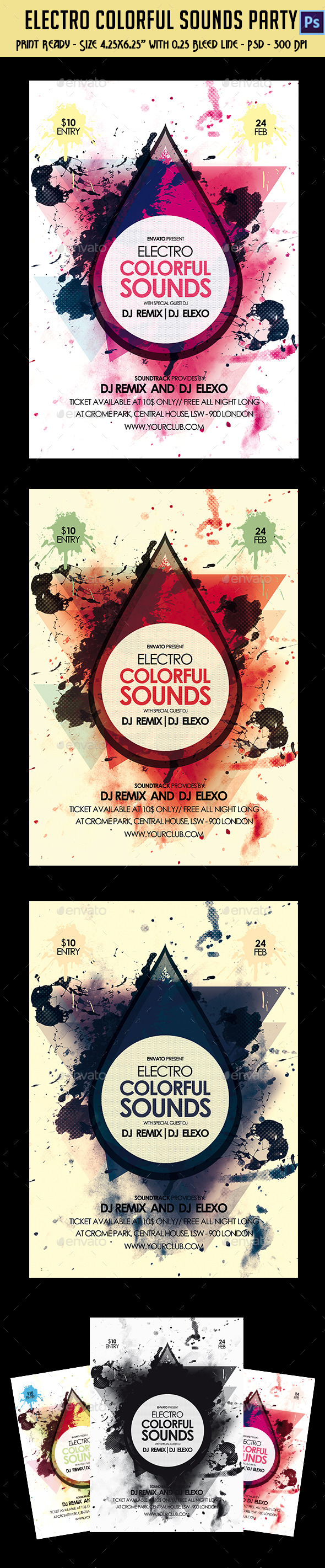 GraphicRiver Electro Colorful Sounds Party Flyer 10176659