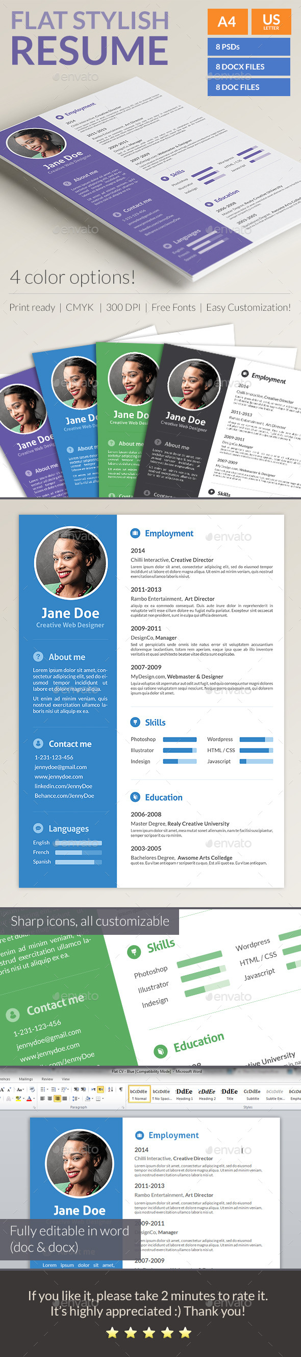 GraphicRiver Stylish Flat Resume 10135775