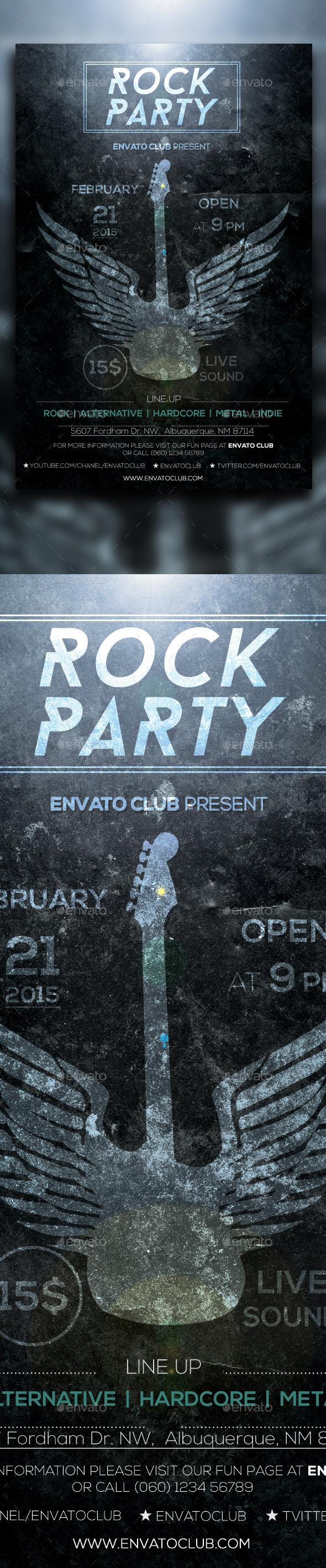GraphicRiver Rock Party Dark Flyer 10140167