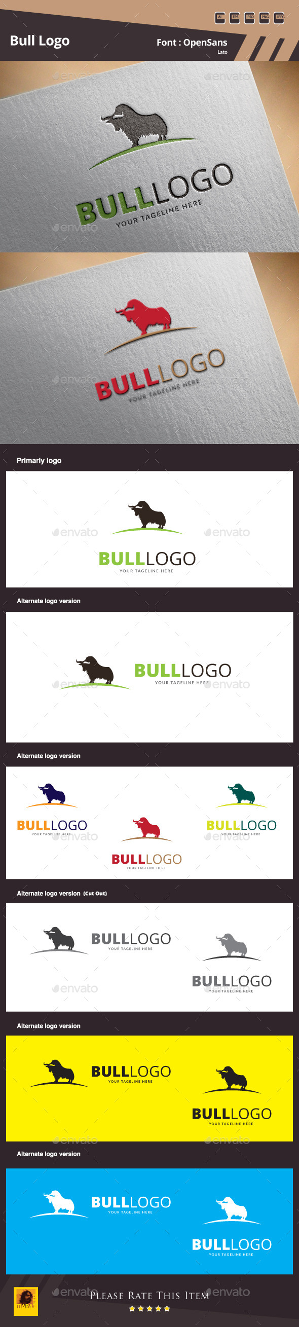 GraphicRiver Bull Logo Template 10179914