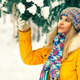 Young Woman Outdoor Winter Lifestyle in hat and mittens fashion clothing - PhotoDune Item for Sale