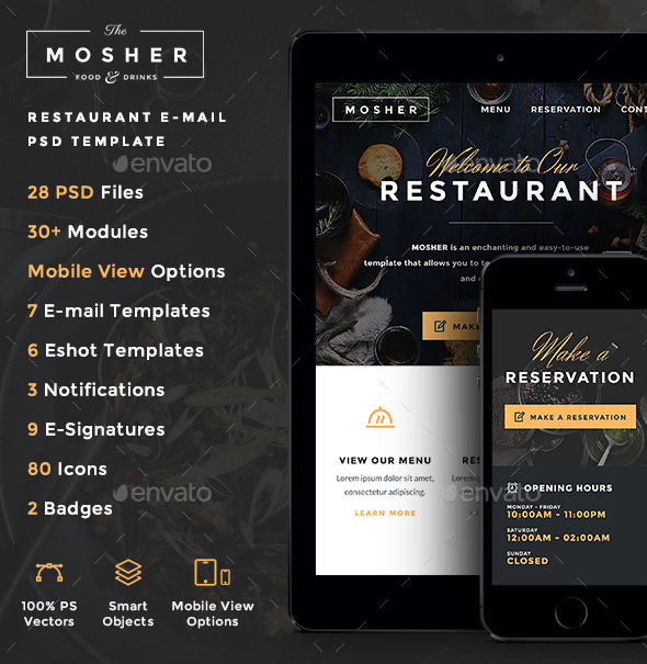 GraphicRiver Mosher Restaurant E-newsletter PSD Template 10180220