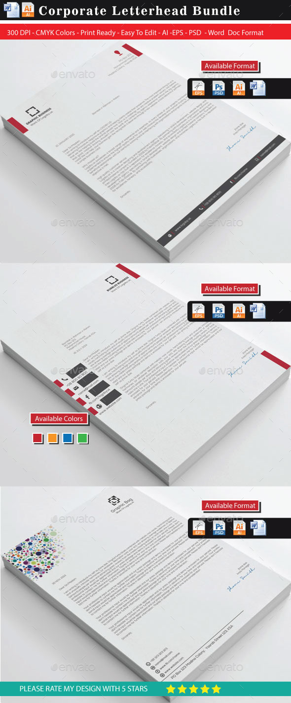 GraphicRiver Corporate Letterheads Bundle 10133269