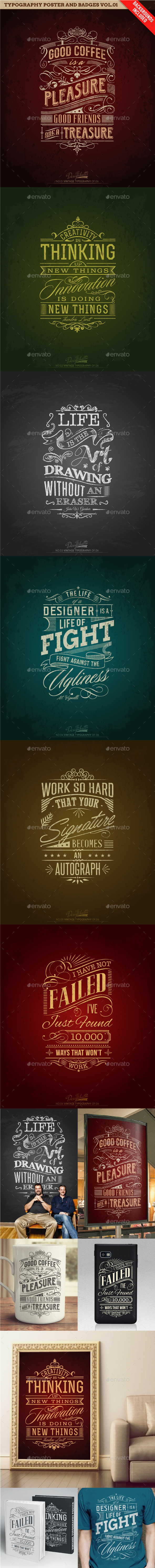 GraphicRiver Typography Poster and Badges Vol.01 10181445