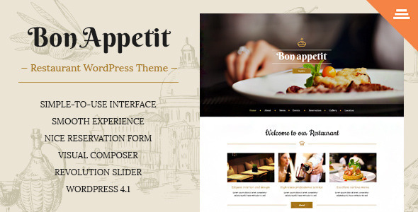 ThemeForest Bon Appetit Premium Restaurant WordPress Theme 10084132