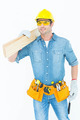 Handsome carpenter carrying wooden planks over white background - PhotoDune Item for Sale