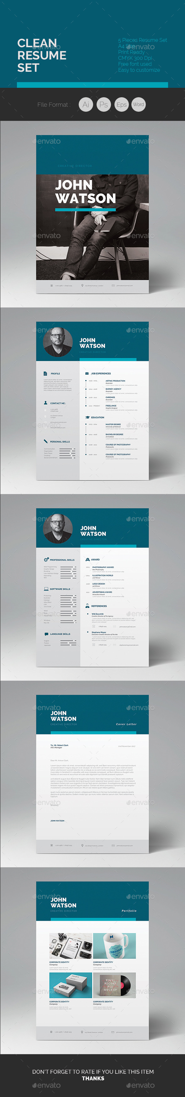 GraphicRiver Clean Resume 04 10182035