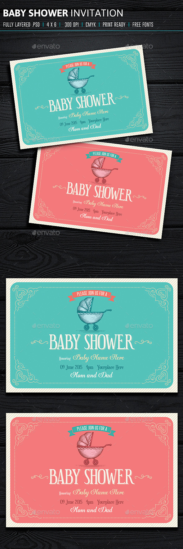 GraphicRiver Baby Shower Invitation 10146076