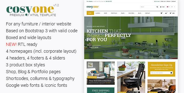 CosyOne - Premium Furniture/Interior HTML Template - Retail Site Templates