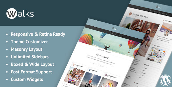 Walks Responsive Masonry WordPress Blog Theme