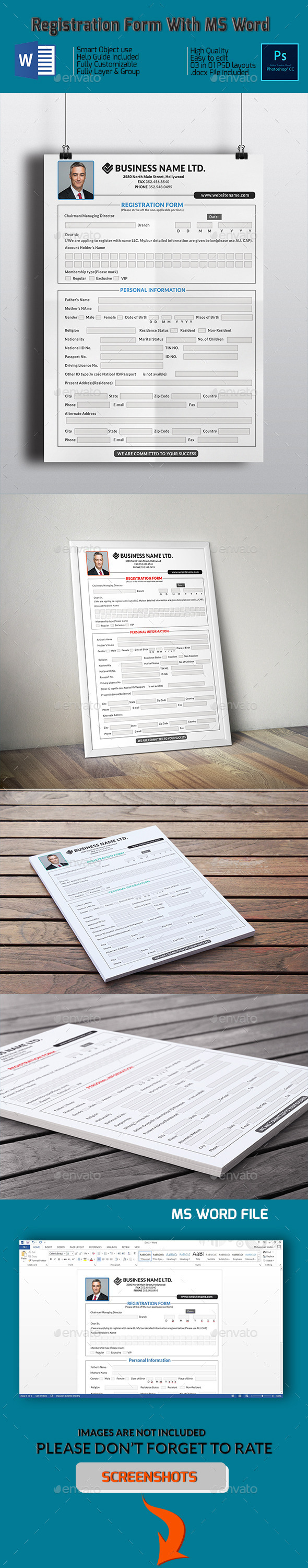 GraphicRiver Registration Form With MS Word 10184475
