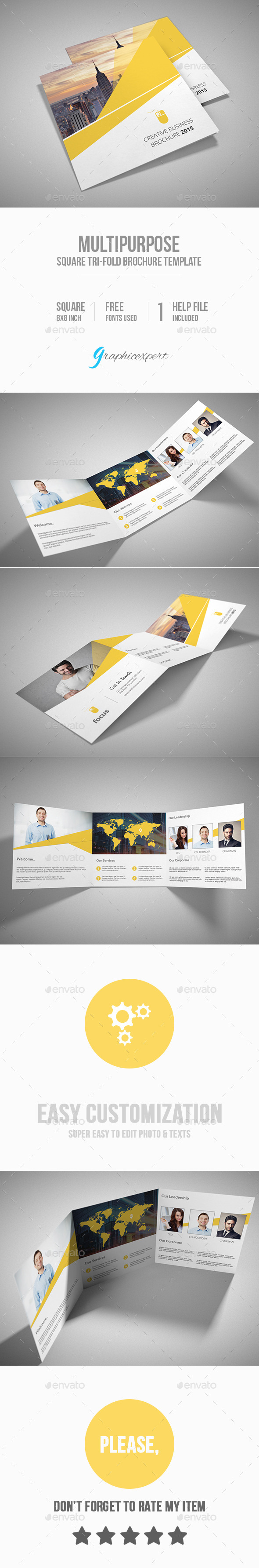GraphicRiver Square Tri-Fold Brochure Multipurpose 10184486