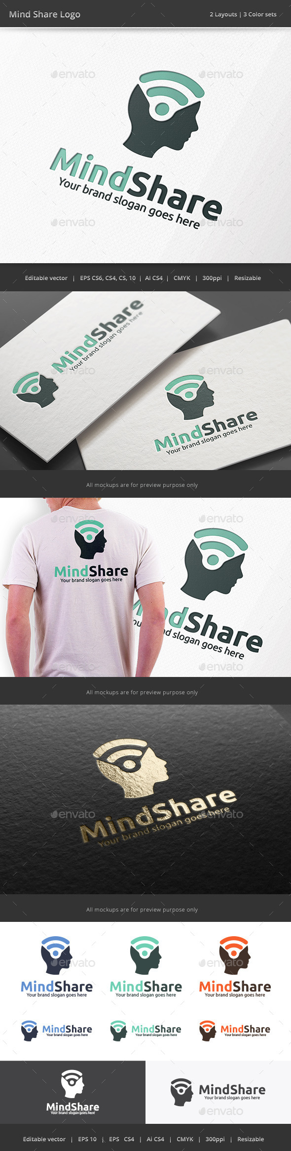 GraphicRiver Mind Share Head Logo 10184515