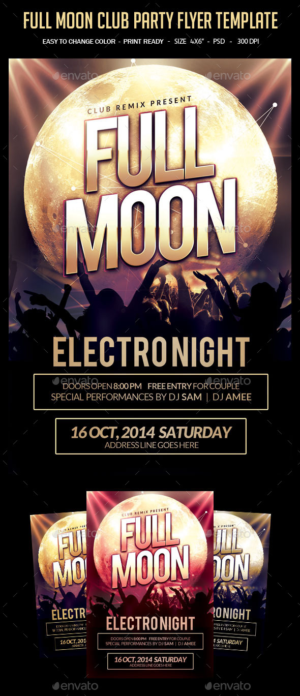 GraphicRiver Full Moon Club Party Flyer Template 10184522