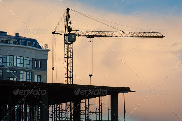 Building tower crane - Stock Photo - Images
