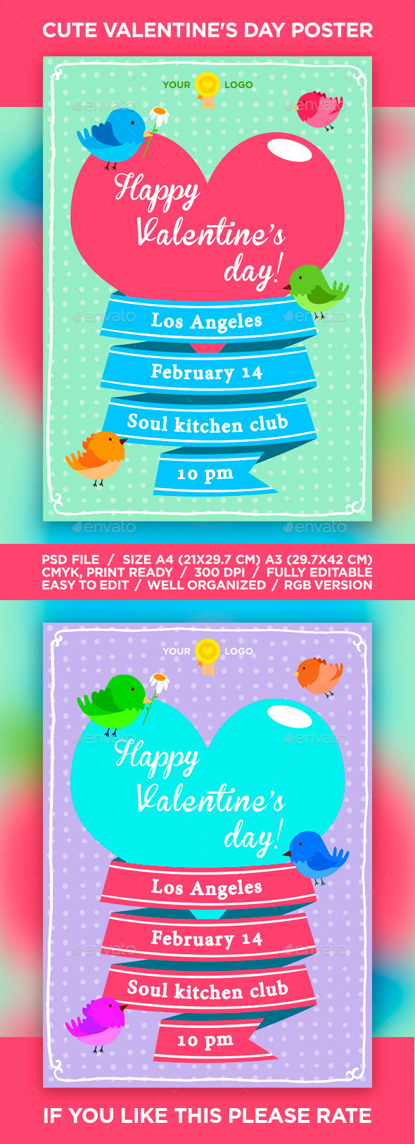 GraphicRiver Cute Valentine s Day Flyer Poster 10184924