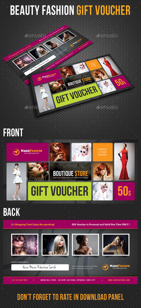GraphicRiver Beauty Fashion Gift Voucher V32 10185103
