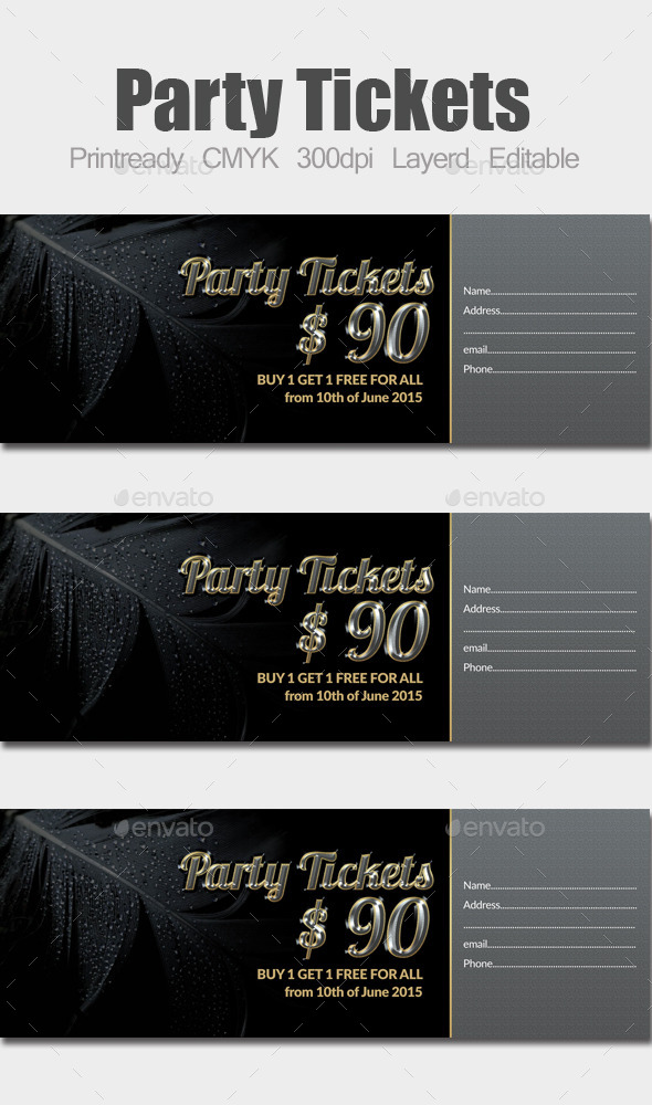 GraphicRiver Special Party Event Ticket & Pass 10185146