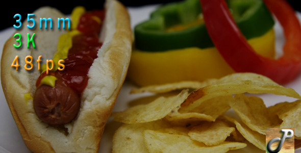 Traditional Hot Dog And Potato Chips