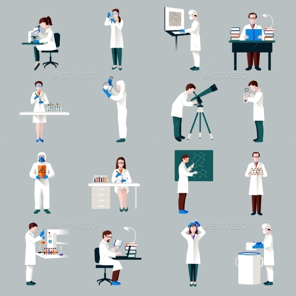 GraphicRiver Scientists Characters Set 10185345