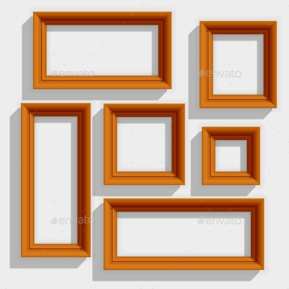 GraphicRiver Wooden Brown Picture Frames 10185447