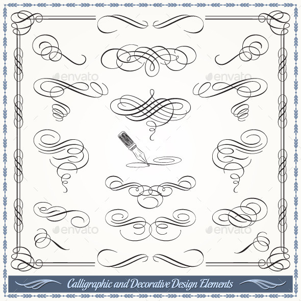 GraphicRiver Calligraphic and Decorative Design Elements 10185460