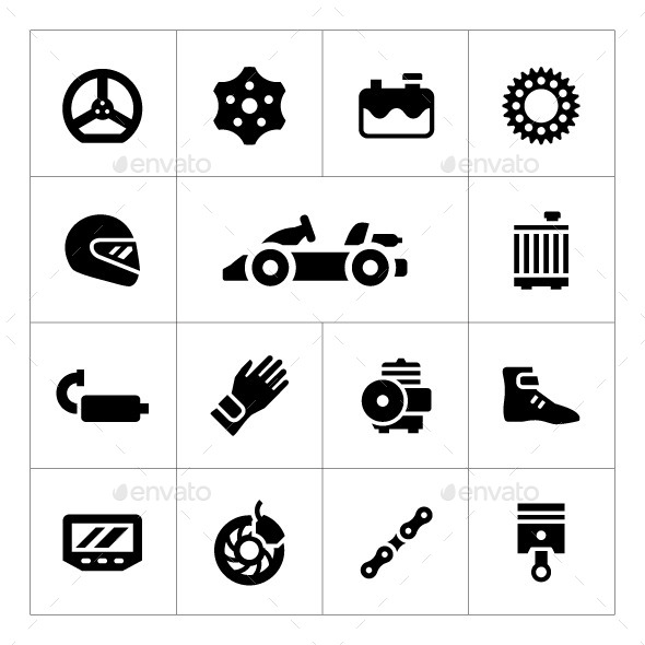 GraphicRiver Set Icons of Karting 10185573